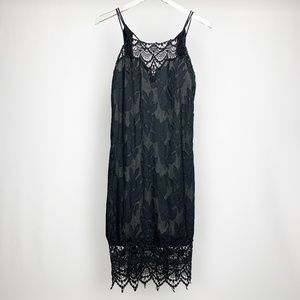 FREE PEOPLE Black Crochet Lace Fitted Dres…